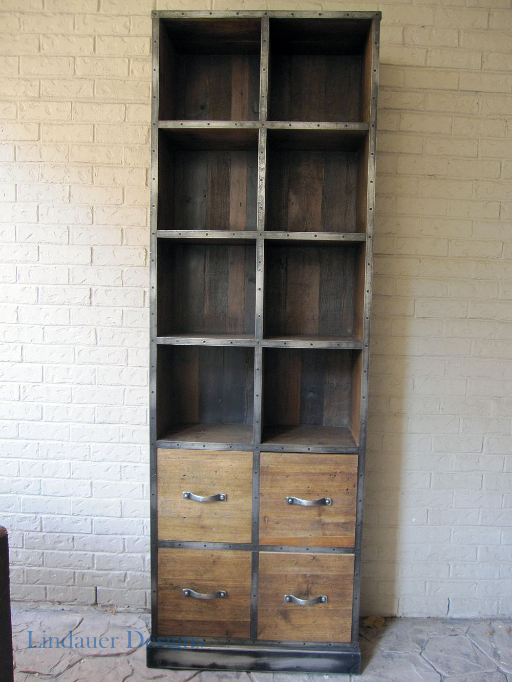industrial wood metal bookcase houston furniture refinishing lindauer designs. Black Bedroom Furniture Sets. Home Design Ideas