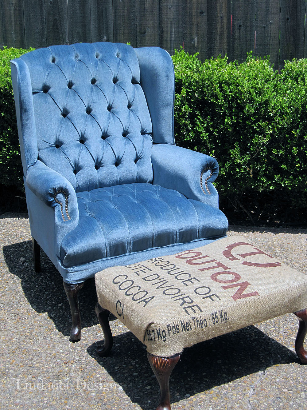Blue wingback chair amp burlap ottoman houston furniture refinishing