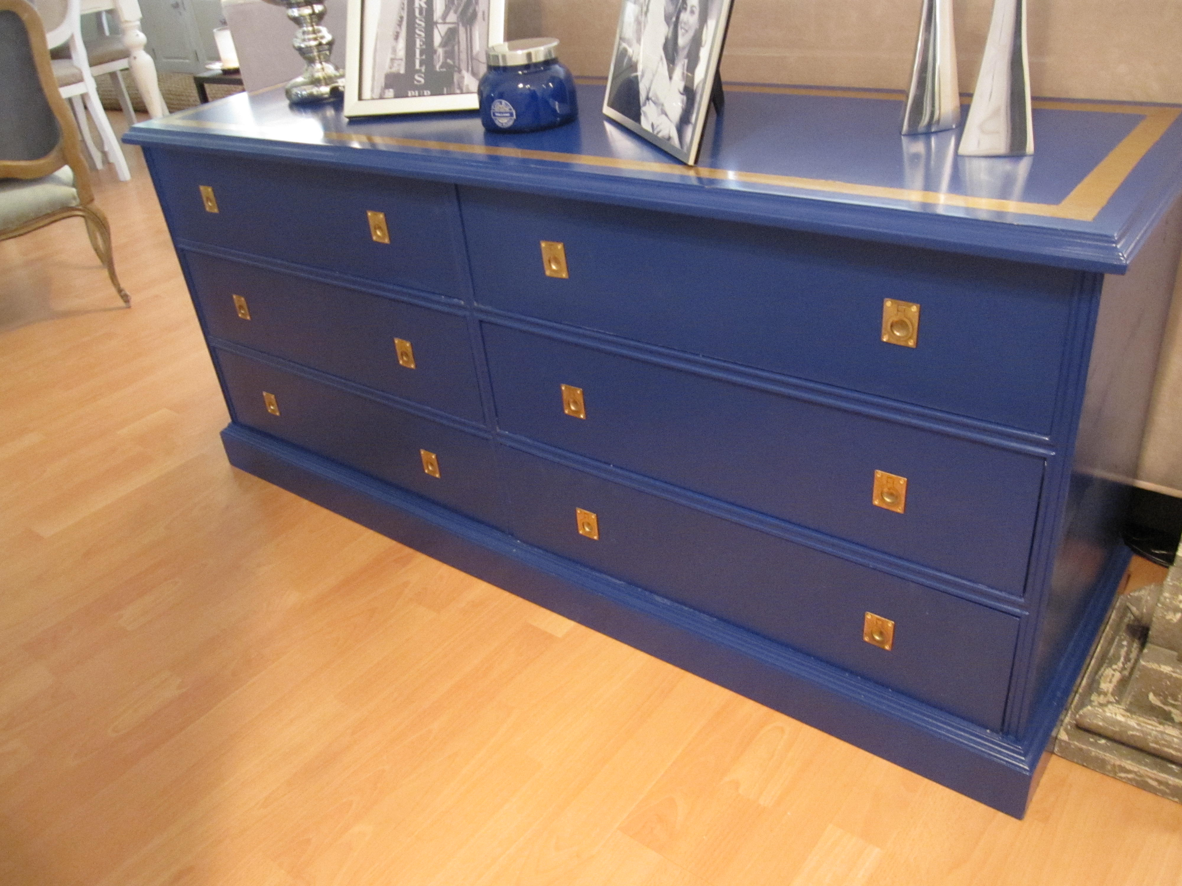 Picture of: Navy Blue Gold Sofa Table Campaign Style Dresser Lindauer Designs