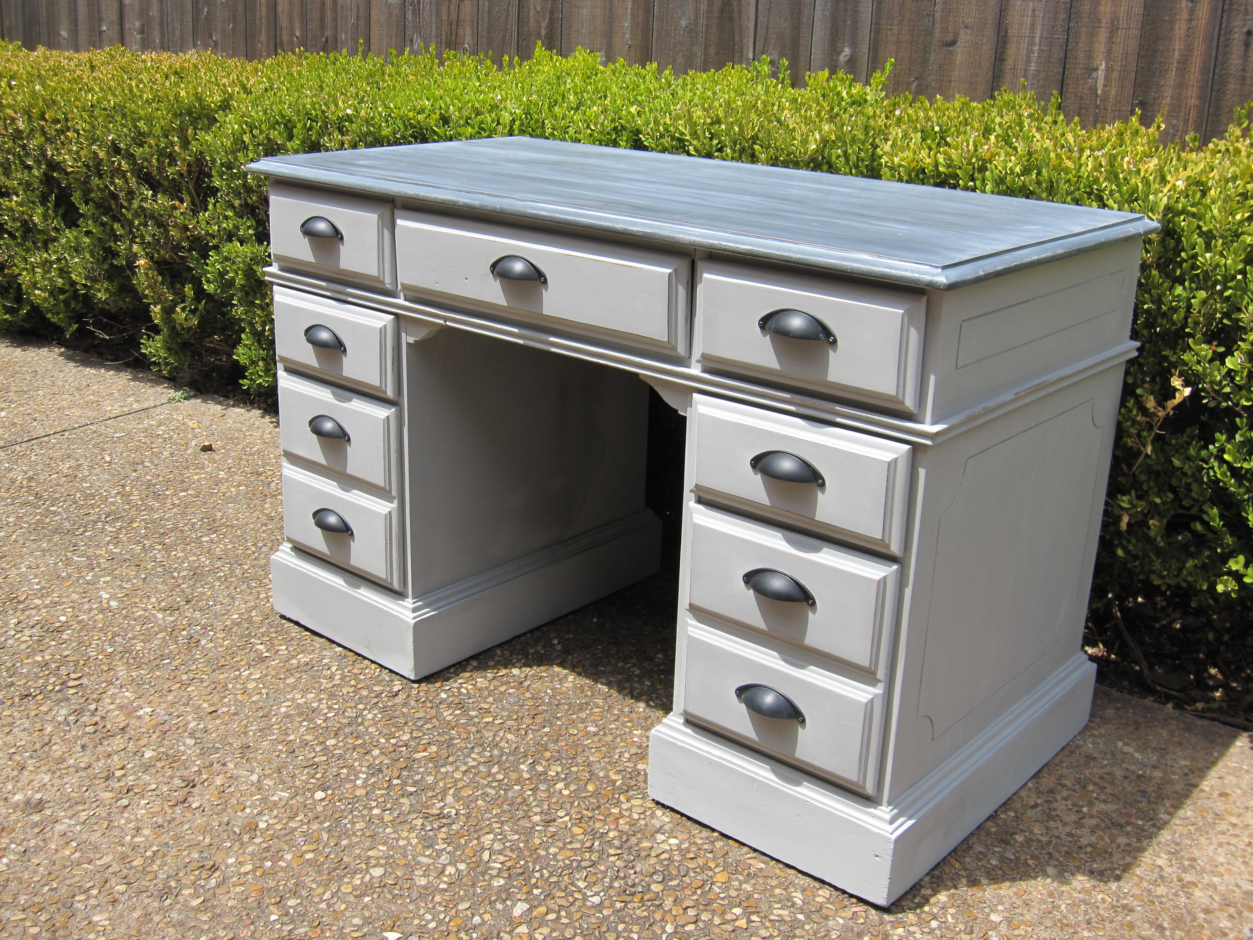 Fantastic 7 Drawer Pedestal Desk Refinished With Paris Gray On The Bottom And Graphite A White Wax Top We Even Finished Back Of This